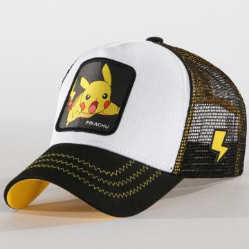 Capslab - Casquette Trucker Pikachu Noir Blanc Jaune