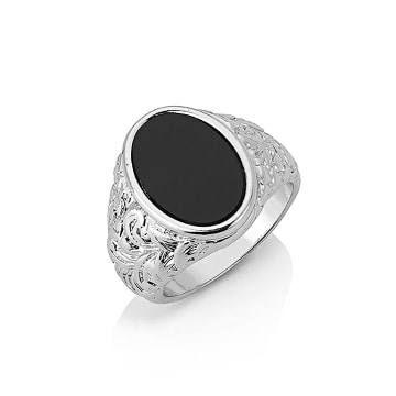 Chained And Able - Bague Oval Detail Onyx RA17090 Argenté