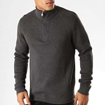 Selected - Pull Col Zippé Bate Milano Gris Anthracite