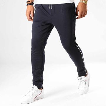 Pantalon Jogging A Bandes UP-T3396 Bleu Marine Blanc