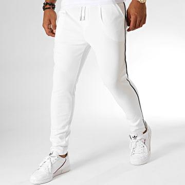 Pantalon Jogging A Bandes T3396 Blanc