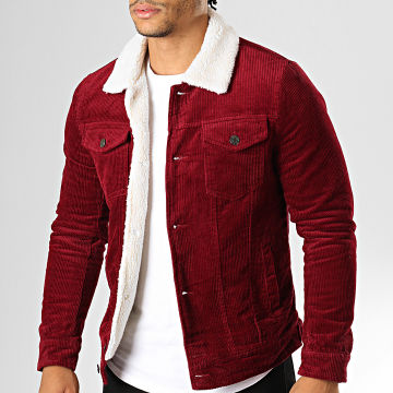 Veste Velours Col Mouton QQ536 Bordeaux