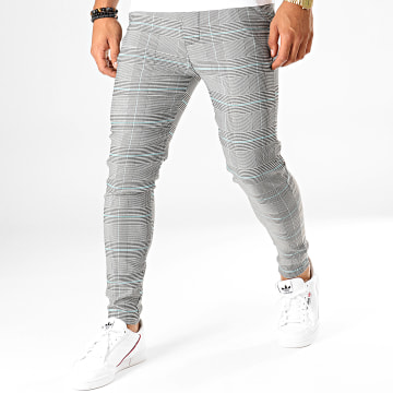 Pantalon Carreaux 1624 Blanc Noir Turquoise