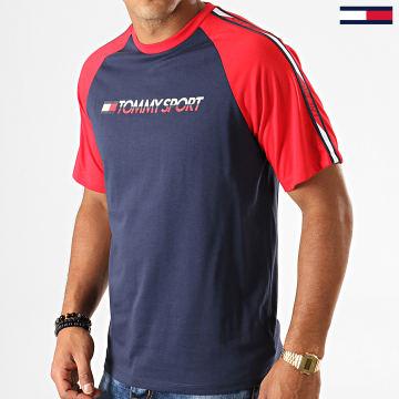 Tommy Sport - Tee Shirt A Bandes Logo 0196 Bleu Marine Rouge Blanc