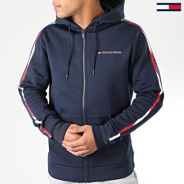 Tommy Sport - Sweat Zippé Capuche A Bandes Fleece FZ 0287 Bleu Marine Blanc Rouge