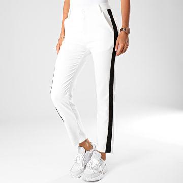 Pantalon Femme A Bandes 311-1 Blanc Noir