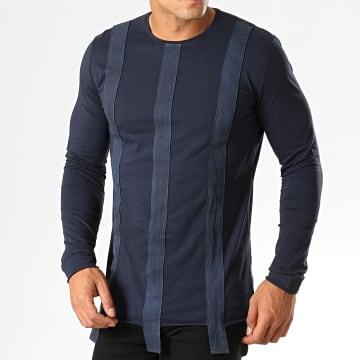 Ikao - Tee Shirt Manches Longues Oversize F620 Bleu Marine