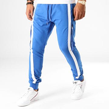 Ikao - Pantalon Jogging A Bandes F663 Bleu Roi