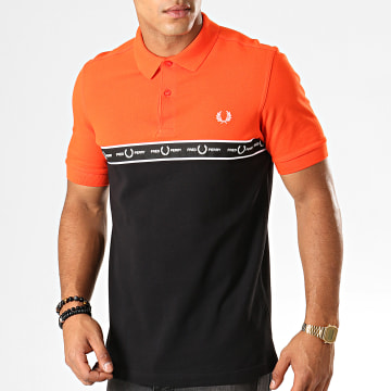 Polo Manches Courtes Taped Chest M7510 Orange Noir