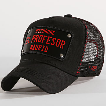 Hechbone - Casquette Trucker Plaque El Profesor Noir Rouge