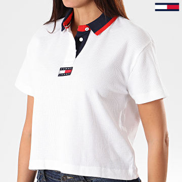 Polo Crop Manches Courtes Femme Tommy Badge 7231 Blanc