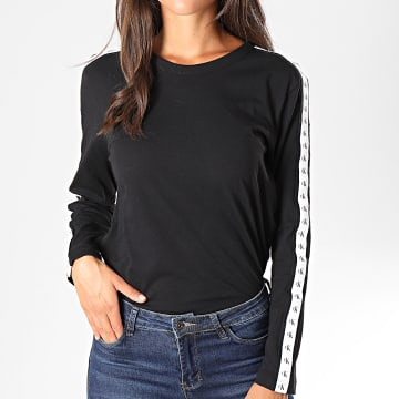Tee Shirt Femme Manches Longues A Bandes Monogram Tape Straig 2248 Noir