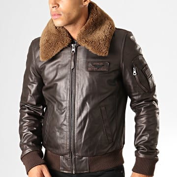 Veste En Cuir Col Mouton Commander Stricking Marron