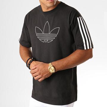 Adidas Originals - Tee Shirt A Bandes Outline Trefoil ED6263 Noir
