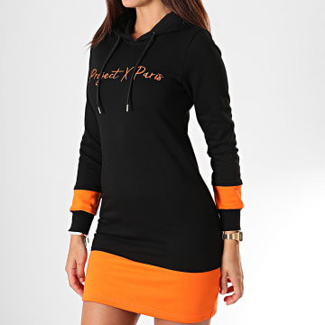 Project X - Robe Sweat Capuche Femme F197031 Noir Orange