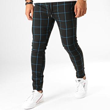 Pantalon A Carreaux 7337-QR04 Noir Bleu Clair