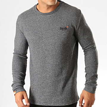 Superdry - Tee Shirt Manches Longues Orange Label Twill Texture M6000011A Gris Anthracite Chiné
