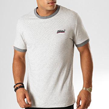 Superdry - Tee Shirt Orange Label Cali Ringer M1000015A Gris Clair Chiné