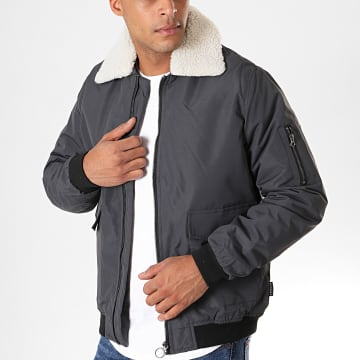 Bomber Col Mouton Oligace Gris Anthracite Beige