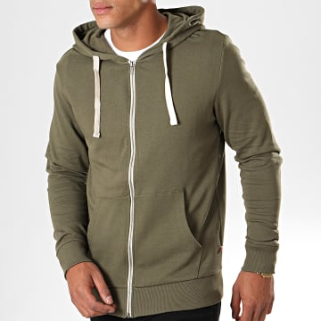 Jack And Jones - Sweat Zippé Capuche Holmen Vert Kaki