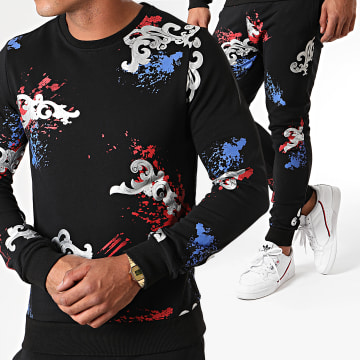 Berry Denim - Ensemble De Survetement JAK-078 Noir Argenté Renaissance Floral
