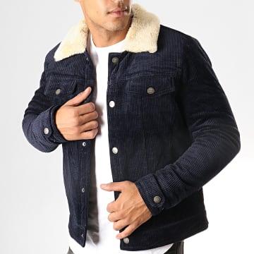 Veste Col Mouton Skins Bleu Marine