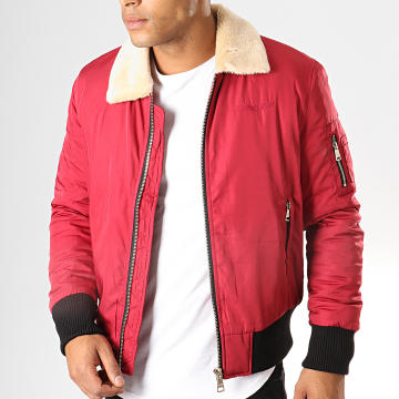 Bombers Original - Bomber Col Mouton Versmold Rouge