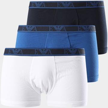 Lot De 3 Boxers Stretch Cotton Bleu Roi Blanc Bleu Marine
