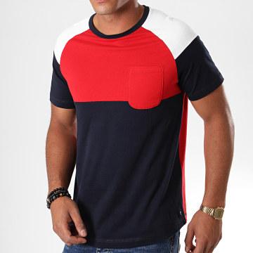 Tom Tailor - Tee Shirt Poche 1013775-00-12 Rouge Bleu Marine Blanc