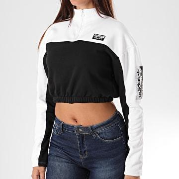 Adidas Originals - Sweat Crop Femme Col Zippé ED7439 Blanc Noir