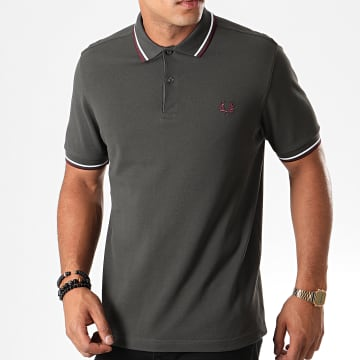 Fred Perry - Polo Manches Courtes Twin Tipped M3600 Vert Kaki Bordeaux Blanc