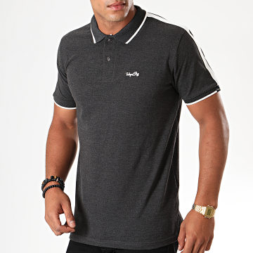 Polo Manches Courtes A Bandes Cafe Racer Gris Anthracite Chiné