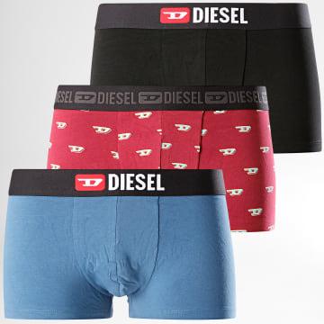 Diesel - Lot De 3 Boxers Instant Looks Noir Bleu Bordeaux