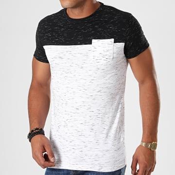 Tee Shirt Poche Mackay Blanc Chiné Noir Chiné