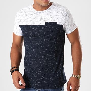 Tee Shirt Poche Mackay Bleu Marine Chiné Blanc Chiné
