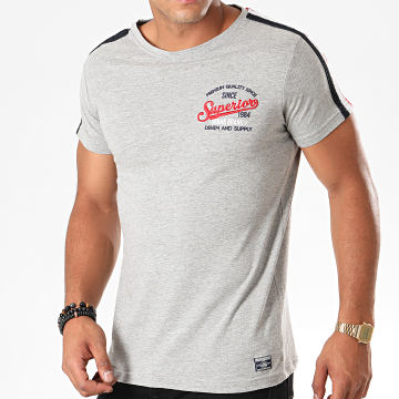 Tee Shirt A Bandes Manor Gris Chiné