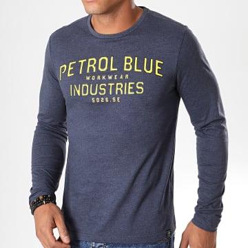 Tee Shirt Manches Longues 640 Bleu Foncé Chiné Jaune