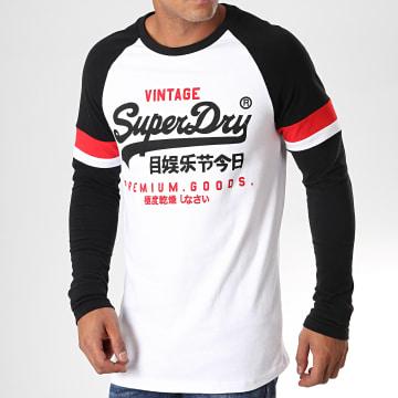 Superdry - Tee Shirt Manches Longues Tri Colour Raglan Blanc Noir