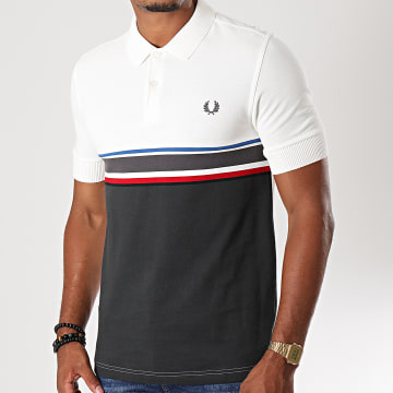 Polo Manches Courtes Chest Stripe M7505 Blanc Cassé Gris