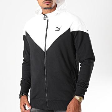 Puma - Sweat Zippé Capuche Iconic MCS 595301 Noir Blanc
