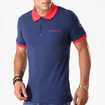 Polo Manches Courtes Contrast 3791 Bleu Marine Rouge