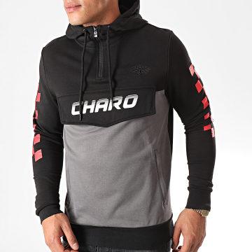 Charo - Sweat Capuche Col Zippé Bicolore Noir Gris