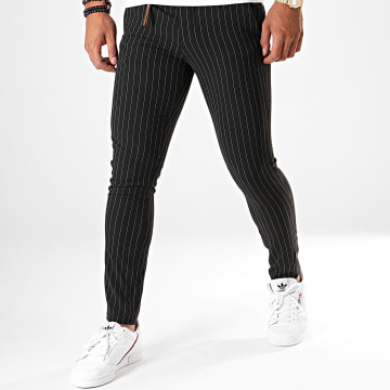 KZR - Pantalon A Rayures GF79001 Noir