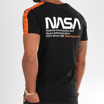 Tee Shirt Space Exploration Avec Bandes Et Broderie 288 Noir