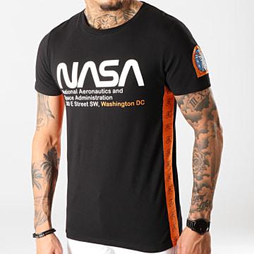 Tee Shirt Space Administration Avec Bandes Et Broderie 289 Noir