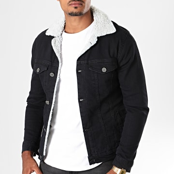 Black Needle - Veste En Jean Super Slim Fit A Col Mouton 5005 Noir Blanc