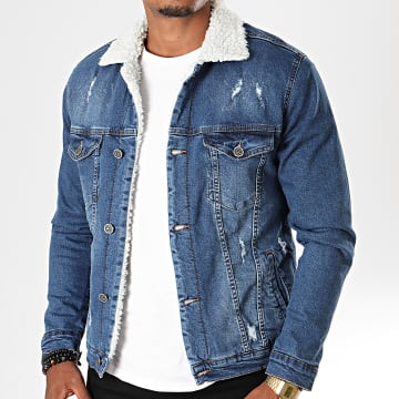 Black Needle - Veste En Jean A Col Mouton Bleu Denim