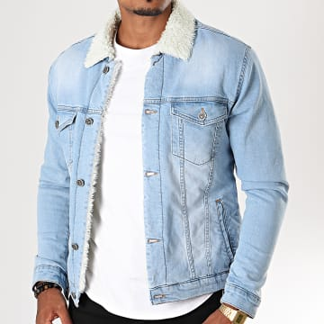 Black Needle - Veste En Jean A Col Mouton 5000 Bleu Wash