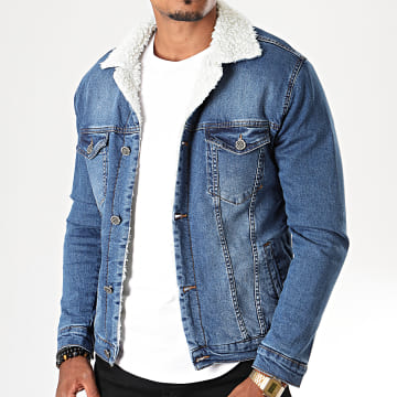 Black Needle - Veste En Jean A Col Mouton 5001 Bleu Denim