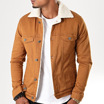 Black Needle - Veste En Jean Super Slim Fit A Col Mouton 5004 Camel Blanc